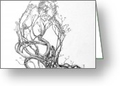 Expressive Drawings Greeting Cards - A Bit of News Greeting Card by Mark Johnson