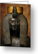 Aristocracy And Royalty Greeting Cards - A Black Grantie Statue Of Isis Greeting Card by Kenneth Garrett