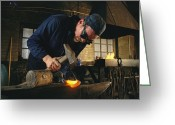 Charlestown Greeting Cards - A Blacksmith Restores Ship Fittings Greeting Card by Maria Stenzel