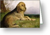 Hubert Greeting Cards - A Bloodhound in a Landscape Greeting Card by English school