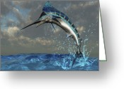 Sea Life Digital Art Greeting Cards - A Blue Marlin Flashes Its Iridescent Greeting Card by Corey Ford