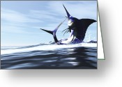 Sea Life Digital Art Greeting Cards - A Blue Marlin Jumps Through The Ocean Greeting Card by Corey Ford