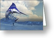 Sea Life Digital Art Greeting Cards - A Blue Marlin Shows Off His Beautiful Greeting Card by Corey Ford