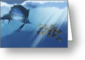 Sea Life Digital Art Greeting Cards - A Blue Marlin Swims After A School Greeting Card by Corey Ford