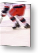 Hockey Action Greeting Cards - A blur of Ice Speed Greeting Card by Karol  Livote