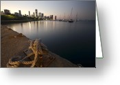 Lake Michgan Greeting Cards - a Boat dock and Chicago skyline at dusk Greeting Card by Sven Brogren