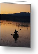 Paddles Greeting Cards - A Boater Model Released Paddles Greeting Card by Phil Schermeister