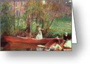 Landing Painting Greeting Cards - A Boating Party  Greeting Card by John Singer Sargent
