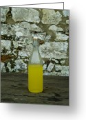 European Union Greeting Cards - A Bottle Of Limoncello Sits On A Picnic Greeting Card by Todd Gipstein