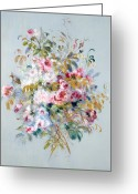 Bouquet Of Roses Greeting Cards - A Bouquet of Roses Greeting Card by Pierre Auguste Renoir