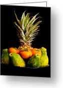 Persimmons Greeting Cards - A Bowl of Hawaiian Fruit Greeting Card by Roger Mullenhour