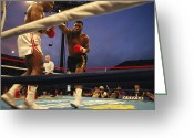 Athletes Greeting Cards - A Boxer Delivers A Punch Greeting Card by Maria Stenzel