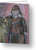 Reds Mixed Media Greeting Cards - A Boy And His Dog Greeting Card by Shellie Gustafson