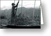 Peaked Greeting Cards - A boy on Inle Lake Greeting Card by RicardMN Photography