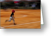 Baseball Game Greeting Cards - A Boy Runs During A Baseball Game Greeting Card by Raul Touzon