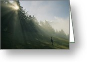 Hikers And Hiking Photo Greeting Cards - A Boy Walks Down A Hill In Banff Greeting Card by Raymond Gehman