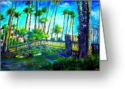 Echo Lake Mixed Media Greeting Cards - A Bridge to Home Greeting Card by Romy Galicia