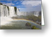 Trees And Rock Cliffs Greeting Cards - A Brilliant Rainbow Visible Greeting Card by Mike Theiss