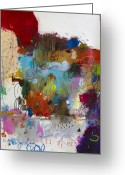 Abstract Bright Color Greeting Cards - A Broken Bottle of Wine And A Dirty Windshield Greeting Card by Michel  Keck