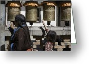 World Culture Greeting Cards - A Buddhist Woman And Child Spin Brass Greeting Card by David Evans
