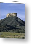 Scrub Greeting Cards - A Butte Rises Up Out Of The Plains Greeting Card by Taylor S. Kennedy