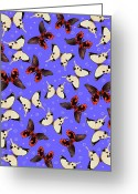 White And Purple Wings Greeting Cards - A Butterfly Pattern Greeting Card by Elmira Amirova