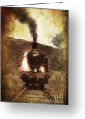 Train Greeting Cards - A Bygone Era Greeting Card by Meirion Matthias