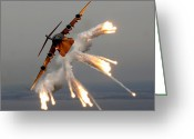 Us Air Force Greeting Cards - A C-17 Globemaster Iii Releases Flares Greeting Card by Stocktrek Images