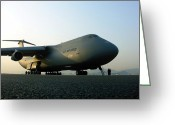 Freight Greeting Cards - A C-5 Galaxy Sits On The Flightline Greeting Card by Stocktrek Images