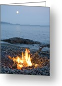 Moonrise Greeting Cards - A Campfire On A Beach With A Full Moon Greeting Card by Taylor S. Kennedy