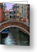 Places In Venice.venecia.venezia.venice Greeting Cards - A Canal in Venice Greeting Card by Tom Prendergast