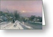 Sunset Scenes. Painting Greeting Cards - A Canal Scene in Winter  Greeting Card by Anders Anderson Lundby