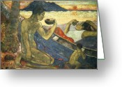 Axe Greeting Cards - A Canoe Greeting Card by Paul Gauguin