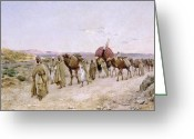 Signed Greeting Cards - A Caravan near Biskra Greeting Card by PJB Lazerges