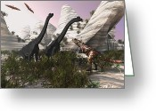 Pterodactyl Greeting Cards - A Carnotaurus Dinosaur Approaches Two Greeting Card by Corey Ford