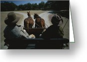 Western Clothing Greeting Cards - A Carriage Pulled By Two Horses Greeting Card by Michael Melford