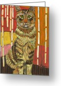 Pet Portraits Greeting Cards - A Cat for Tamar Greeting Card by David  Hearn