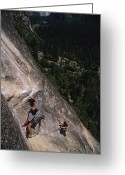 United States Traditional Sports Greeting Cards - A Caucasian Male Rock Climbing Greeting Card by Bobby Model