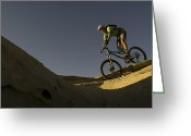 Helmet Greeting Cards - A Caucasian Man Mountain Biking Greeting Card by Bobby Model