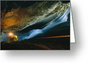 Madre Greeting Cards - A Cave Explorer Climbs Through One Greeting Card by Carsten Peter
