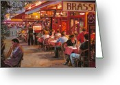 Brasserie Greeting Cards - A Cena In Estate Greeting Card by Guido Borelli