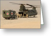 Battleground Greeting Cards - A Ch-47 Chinook Helicopter Drops Greeting Card by Andrew Chittock