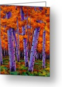 Aspen Trees Greeting Cards - A Chance Encounter Greeting Card by Johnathan Harris