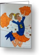 Cheerleader     Greeting Cards - A Cheerful Cheerleader Greeting Card by Charita Padilla