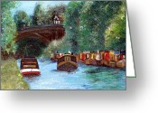 Shores Painting Greeting Cards - A Cheshire Canal Remembered Greeting Card by Abbie Shores