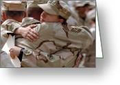 Consoling Greeting Cards - A Chief Master Sergeant Consoles Greeting Card by Stocktrek Images