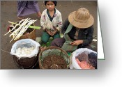 Burma Greeting Cards - A child in the market of Aungban - Myanmar Greeting Card by RicardMN Photography