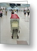 Routine Greeting Cards - A Chinese Man Pushes Shopping Carts Greeting Card by Justin Guariglia