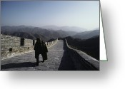 Hill Photographs Greeting Cards - A Chinese Soldier Patrols The Great Greeting Card by James P. Blair
