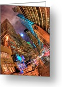 Fisheye Greeting Cards - A Citys Patience Greeting Card by Joshua Ball